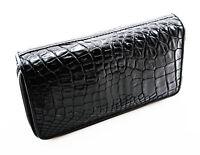 New Black Genuine Leather Crocodile Women Double Zipper Clutch Wallet Purse