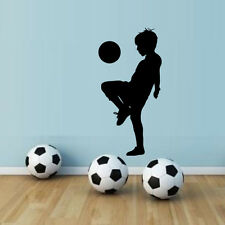 Kid Plays Football Soccer Quote Wall Sticker Boys Room Sport Decor Vinyl Decal