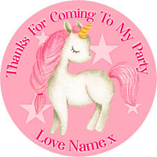 24 Personalised Stickers For Party/Sweet Cone Bags Pink Unicorn