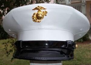 USMC US Marine Corps Enlisted regulation Dress Blue white cover Frame hat LARGE