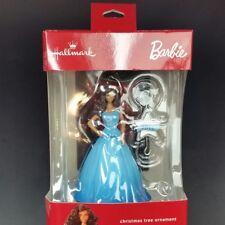 Blue dress Brown hair Barbie Christmas tree ornament Hallmark with 2016 hanger