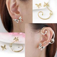 JT1 Woman's Cuff Ear Clip Stud Crystal Rhinestone CHIC Earring -Butterfly 1 Pair