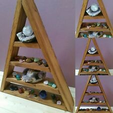 Handmade Wooden Triangle Shelf for displaying of ornaments and crystals etc
