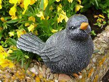 Steinfigur Tierfigur Vogel schwarz
