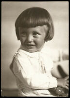 1920s PRETTY Smiling Little Girl in Studio Old Fashion Russian antique photo