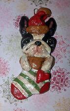 Folk Art Boston Terrier Dog Ornament Christmas Sock Decoration Vintage New