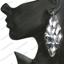 "CLIP ON 4""long BIG CHANDELIER EARRINGS silver fashion FACETED DROPS clips"