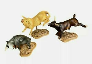 Lot Breyer Collectibulls 3 Piece Set Blueberry Wine Mudslinger and Clayton's Pet