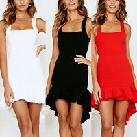 Women's Bodycon Evening Party Dress Cocktail Backless Ruffles Summer Dresses