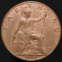 1909 | Edward VII Farthing | Bronze | Coins | KM Coins