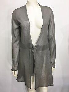 Eileen Fisher Womens S Silver Shimmery Long Lightweight Sweater Waist-Tie