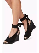 New🌹Next🌹Size 8 Black Suede Leather Wedge Shoes Sandal Tie Lace Up Strap 42EU