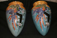 RARE (PAIR)!! HAND PAINTED PORCELAIN WALL POCKET JAPAN LUSTERWARE