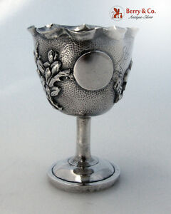 Chinese Export Silver Egg Cup Cherry Blossom 1900