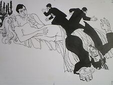 VINTAGE PULP EROTICA DRAWING ILLUSTRATION VIOLENCE MURDER NUDE RISQUE MOD 1960