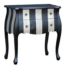 Modern Boutique Style Black & Silver Striped Chest of Drawers / Bedroom