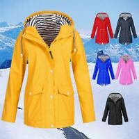 Women Rain Outdoor Waterproof Hooded Raincoat Windproof Jacket Coat Plus Size XL
