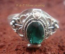 Choose Size 5/6/7/8/9 Green Quartz Poison Locket Ring LR-713-DG