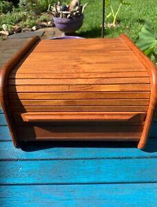 Vintage Mid Century Modern TEAK Wood Tambour Roll Top Organize Storage