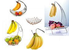 Fruit Bowl Banana Hanger Holder Fruit Storage Bowl Basket with Stand Hook Chrome