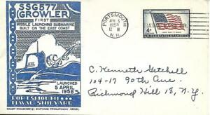 GROWLER (SSG-577) 5 Apr 1958 Launch Cacheted PM Portsmouth NH