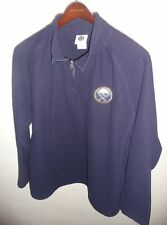 NHL Buffalo Sabres Men's Zip Neck Pullover Sweatshirt Long Sleeve Navy Blue L