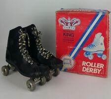 Vtg Roller Derby Street King Shoe Roller Skates Metal Wheels Black Mens size 8