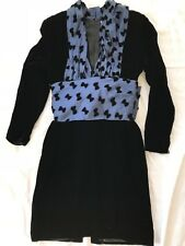 GUY LAROCHE BOUTIQUE PARIS NAVY VELVET SILK DRESS SIZE 40
