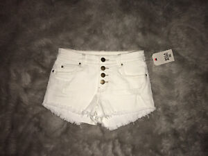 Billabong Button Up White Denim Cut Off Shorts New With Tags Size 25