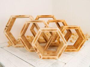 Hexagon Shelves Rustic Wall Shelves Honeycomb Set Of 3 Handmade Natural Beeswax