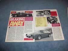 "1989 Chevy Camaro 1LE IROC-Z Vintage Info Article ""Braking Away"""