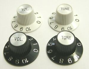 Witch Hat Knobs Black or White Volume or Tone (Allparts USA)