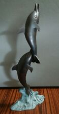 two bronze brass dolphing figurine statue