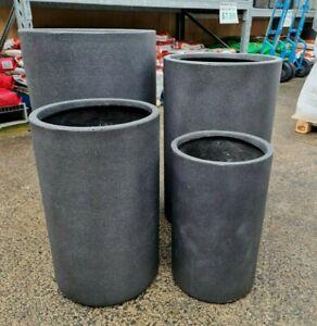 Outdoor Garden Patio Round Planter Marnus Modstone Cylinder Pot Sandblast Grey