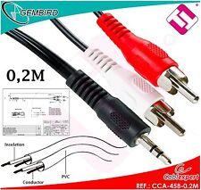 CABLE CCA-458-0.2M AUDIO 3.5MM MACHO A RCA MACHO ESTEREO 0,2M GEMBIRD ROHS CE