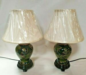 Pair of  Green Lacquer Oriental Temple Jar Lamps complete with Silk Shade