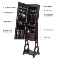 Mirrored Jewelry Cabinet Armoire Lockable Standing Storage Organizer W/ Shelf