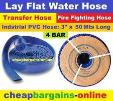 "LAY FLAT WATER FIRE HOSE REEL 3"" x 50Mt INDUSTRIAL PVC TRANSFER IRRIGATION HOSE"