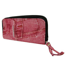 Purse Wallet Offissima Faux Denim Look Fashion Patterned Chic Clutch Bag Pink