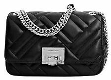 Michael Kors Vivianne Medium Shoulder Chain Flap Quilted Leather Bag-BLACK