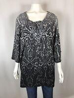 Maggie Barnes Womens Tunic Shirt Size 0X 14W/16W 3/4 Sleeve Blouse Embellished