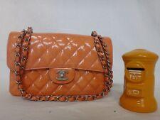 Auth CHANEL Patent Orange Classic Flap Shoulder Bag Black Silver HW Medium