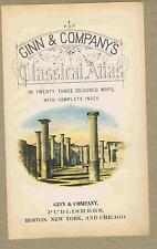Unique 1886 Ginn & Company Classical Atlas Title Page-Color Scene Columns Ruins