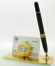 Miniature Novelty Gold Plated Golf Ball Clock & Card Holder with Pen