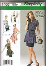 OOP Vintage 50s Retro Tunic Peplum Blouse Top Sewing Pattern Size 6 8 10 12 14