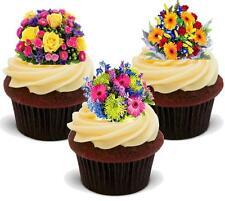 12 Brillante Ramo De Flores Mix Comestibles De Oblea Cake Toppers Stand Ups Floral Mamá gran