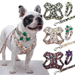 Floral Dog Collar & Lead & Harness set Soft Dog Walking Vest Leash Small Medium