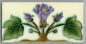 5 color Tubelined Art Nouveau Antique original period Majolica tile lilac flower