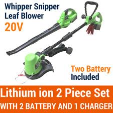 20V Lithium Cordless Leaf Blower Snipper Grass Trimmer 2PC Garden Tool 2 Battery