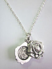 "St Michael /Guardian Angel Locket Style Rose Slide Medal Pendant 20"" Chain"